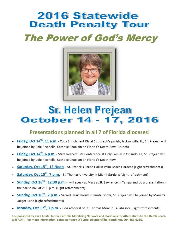 Sr. Helen Prejean DP Tour Flyer - with Venues 4-2-16